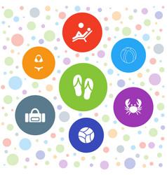 7 beach icons vector image