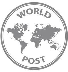 Abstract world post rubber stamp vector