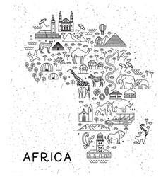 Africa travel line icons map travel poster with vector