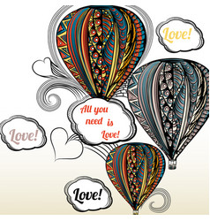 All you need is love air balloon with hippie vector