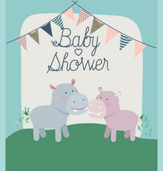 baby shower card with cute hippos couple vector image