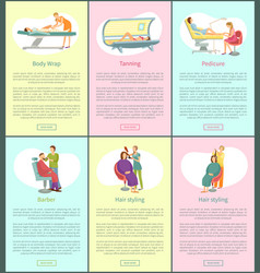 barber for men service and tanning posters vector image