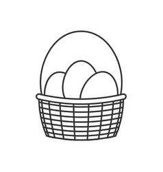 basket with easter eggs line icon vector image