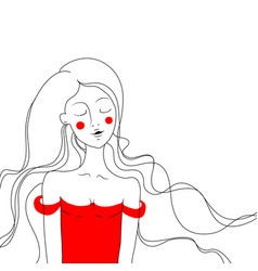 beautiful girl in red dress on white background vector image