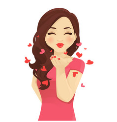 Blowing kiss women vector