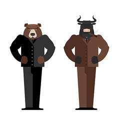 Bull Businessman Bear Businessman Bulls and bears vector image