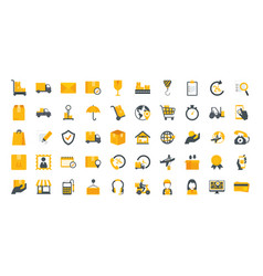bundle delivery service icons vector image