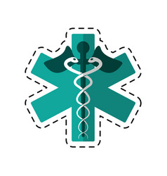 Cartoon caduceus medicine care symbol vector
