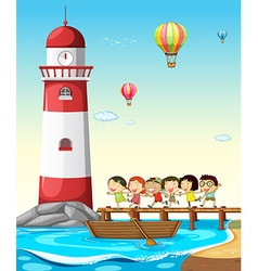 Children and lighthouse vector