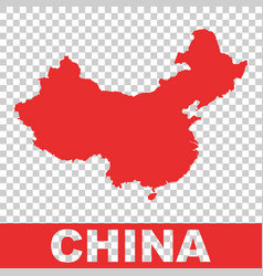 China map colorful red on isolated background vector