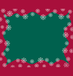 christmas border red waved frame covered by snow vector image