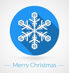 Christmas Greeting Card with Snowflake in Circle vector image