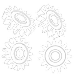 Collection of wire-frame gears vector