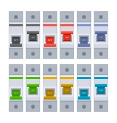 Color Circuit Breakers Set on White Background vector