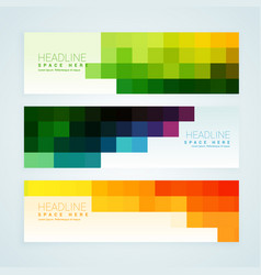 Colorful mosaic tiles banners set vector