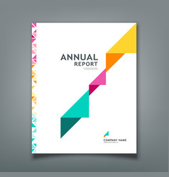 Cover annual report colorful triangle paper vector