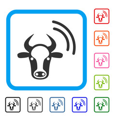 Cow radio signal framed icon vector