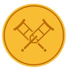 Crutches gold coin vector