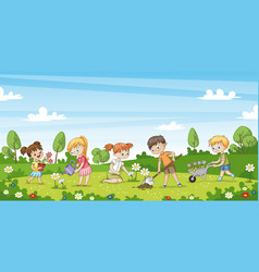 Cute children work in the garden funny cartoon vector