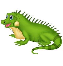 Cute iguana cartoon vector image