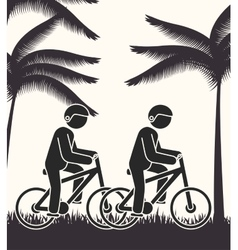 cyclist person rural road background vector image