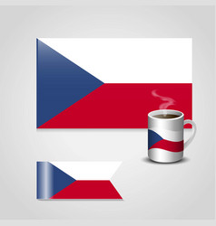 Czech republic flag printed on coffee cup and vector