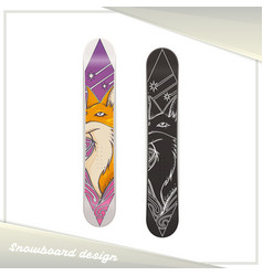 Design snowboard fox vector