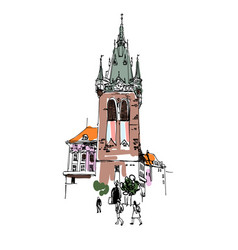 digital drawing a historical tower in prague vector image
