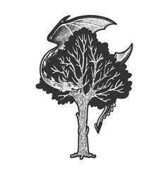 Dragon on tree sketch vector