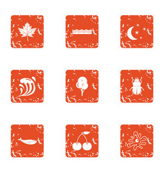 Essence icons set grunge style vector