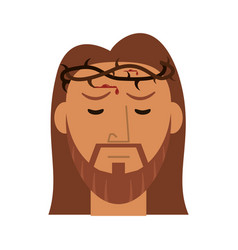 Face jesus christ with crown thorns vector