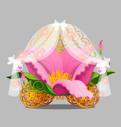 Fantasy bed the princess in a pink flower petals vector
