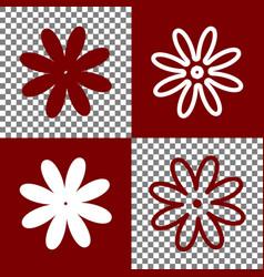 Flower sign bordo and white vector