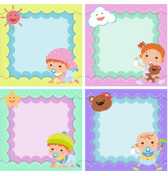 Four background template with cute kids vector