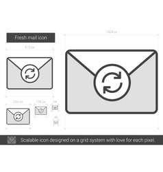 Fresh mail line icon vector image