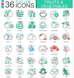 Fruits and vegetables flat line outline vector