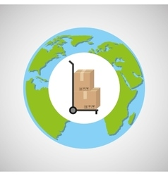 globe world delivery trolley package graphic vector image