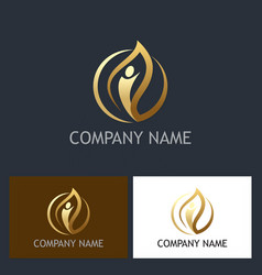 Gold leaf people beauty logo vector