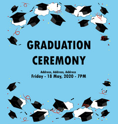 graduation poster throwing graduation hats in the vector image