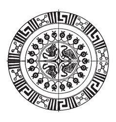 greek circular panel have four birds in it vector image
