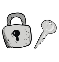 Grey lock and key on white background vector
