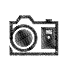 Hand draw black photograpic camera vector