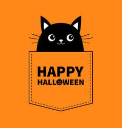 happy halloween black cat in pocket cute vector image