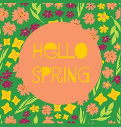 hello spring feminine banner vector image