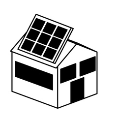 house exterior with panel solar isolated icon vector image