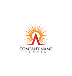 Icon logo template sun over horizon vector