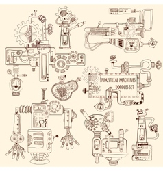 Industrial Machines Doodles Set vector