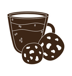 International day coffee glass cup and cookies vector