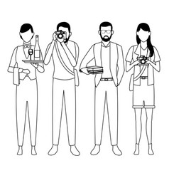Jobs and professions avatars in black and white vector