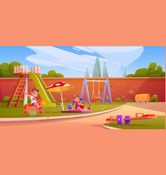 kids on playground in summer park or kindergarten vector image